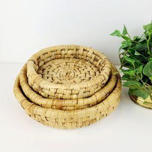 3 Vintage nesting raffia baskets